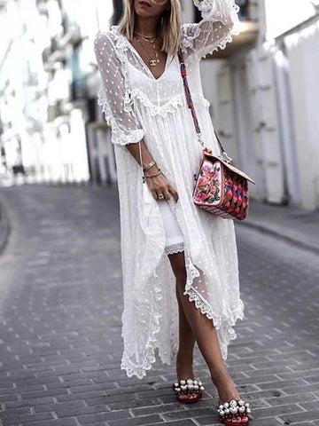 White Romantic V-neck Long Sleeves Maxi Dresses
