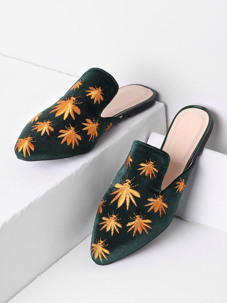 Cheap Leaf Embroidery Flat Mules