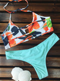 Floral Ladder Cut Out Ruched Bikini Set