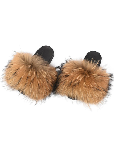 WIDER FUR WOMEN FASHION SLIDES NEW REAL RACCOON FUR SLIPPERS