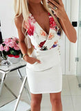 DEEP V NECK SEXY DRESSES AUTUMN FLORAL PRINT DRESS