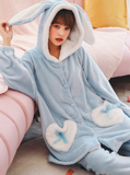 WOMEN WINTER BLUE LONG SLEEVE WHITE POCKET SLEEPWEAR