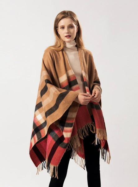 PRICK PLAID FRINGE JOKER WARM SHAWL CLOAK