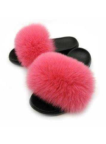 FASHION WOMEN FOX FUR REAL FUR SLIPPERS