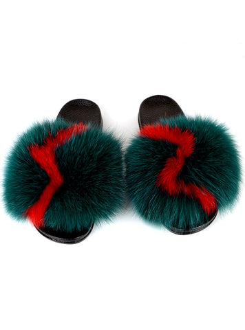 FEMALE INDOOR FLIP FLOPS CASUAL RACCON FUR SANDALS