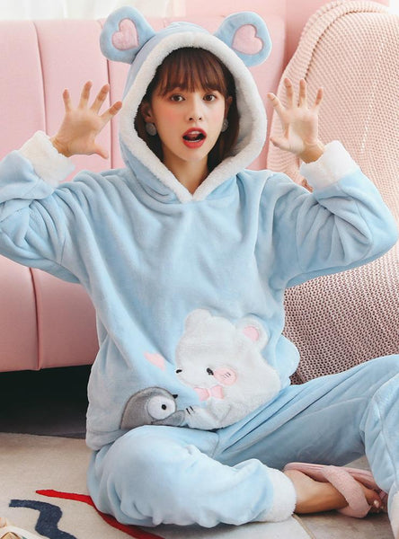BLUE PENGUIN POLAR BEAR PAJAMAS FEMALE CORAL FLEECE THICK