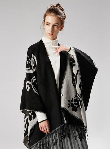 TAI CHI FLOWER FORK THICKENED CASHMERE CLOAK