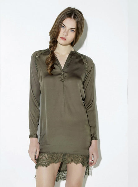 TRIM SHIRT WOMEN ARMY GREEN PATCHWORK V-NECK