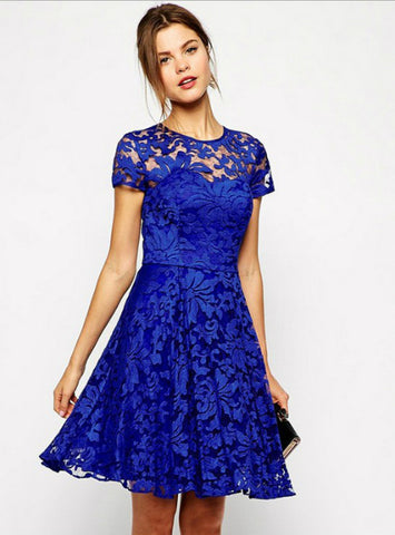 Sweet Hallow Out Lace Dress Sexy Party Princess Slim