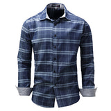Long Sleeve Checked Shirt for Men Blue Pure Cotton Loose