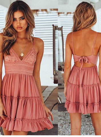 Women V-neck Sleeveless Beach Backless Lace Patchwork Dress