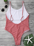 Open Back Gingham One Piece Swimsuit