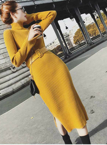 Lurex Bodycon Dresses With Belt Skinny Knitted Dress