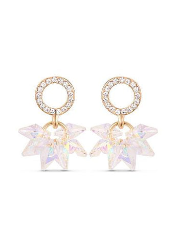 AAA Zircon Circle with Colorful Austria Crystal Beads 18K Gold Plated Ear Studs, Micro Pave