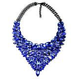 Fathion Exaggerated Rhinestone Feather Necklace