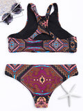 High Neck Geometrical Print Cut Out Bikini Set