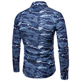 Denim Designer Shirts for Men Camo Printing Stylish Slim Casual