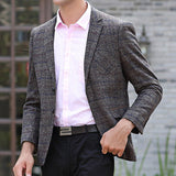 Chest Pocket Blazers for Men Coffee Fall Casual Woolen Stylish