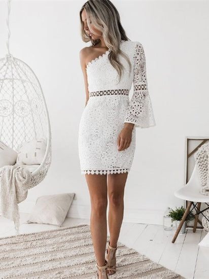 Slim Party Mini White Lace Short Dress Women Long Sleeve Dresses