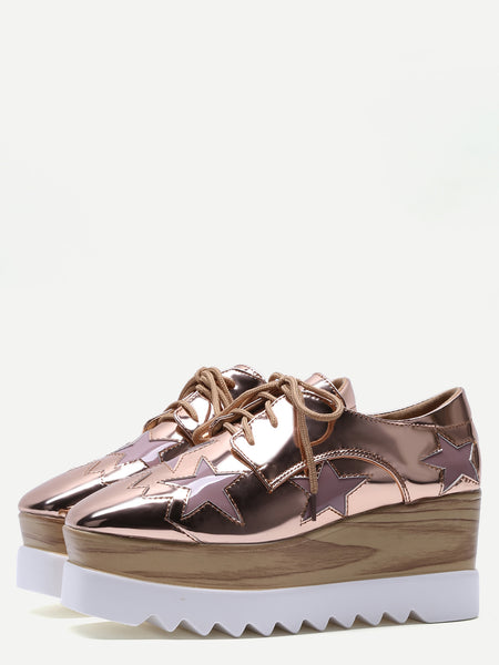 Fathion Rose Gold Star Patch Patent Leather
