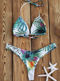 Tropical Palm Print Thong Bikini Set