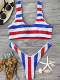 Padded Striped High Cut Scoop Bikini Set