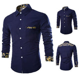 Printing Designer Shirts for Men Casual Stylish Stitching Button Up