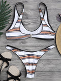 Striped High Cut Scoop Bikini Set