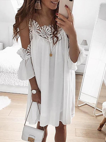 Lace Colors Split-joint Midi Dress