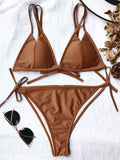 Double Straps Padded High Cut Bikini Set