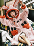 PINK CARROT THICKENED LOOSE ROBE BATHROBE CORAL