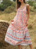 WOMEN FLORAL-PRINT SPAGHETTI-NECK MAXI DRESS