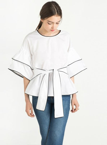 SOLID WHITE TIE FRONT SOFT CASUAL LOOSE SHIRT HALF SLEEVE