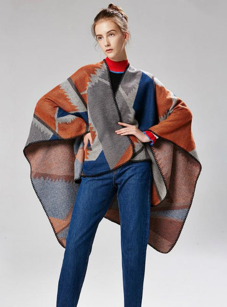 DUAL PURPOSE CAPE GEOMETRIC MATCHING PATTERN AND SHAWL