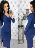 DEEP V NECK LONG SLEEVE BODYCON KNITTED SWEATER DRESS