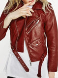 RED PU SHORT BIKER JACKET METAL ZIPPER