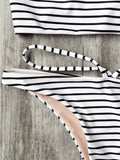Striped High Neck Bikini Top and Bottoms