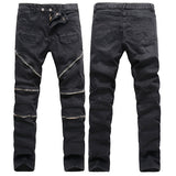 Stone Washed Elastic Slim Denim Jeans For Men Casual Multi-zippers