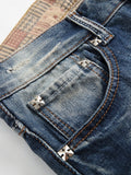Men's Fashion Jeans Mid Waist Worn Hole Casual Slim Fit