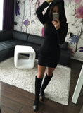 Long Sleeve Autumn and Winter Warm Dresses Party Club Solid