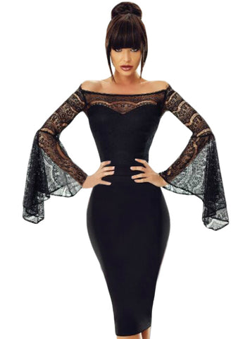 Party Lace Bell Long Sleeve Off Shoulder Bodycon Dress Knee-Length