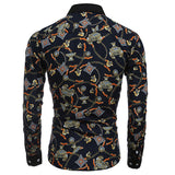 Long Sleeve Designer Shirts for Men Personality 3D Printing Slim