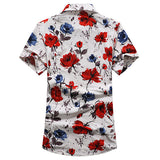 Short Sleeve Dress Shirts for Men Plus Size Beach Seaside Fashion Flowers Printing Loose