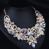 Cheap Diamante Rhinestone Floral Statement Necklace