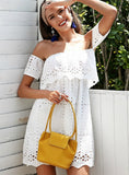 Off Shoulder White Lace Dress Women Hollow Out