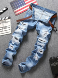 Light Blue Slim Fit Casual Men's Fashion Jeans Mid Waist Hole