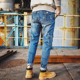 Pockets Cuffed Jeans  Fall Blue Cargo Work Multi