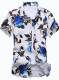 Mens Shirt Slim Fit Short Sleeve Floral Shirt Mens Clothing