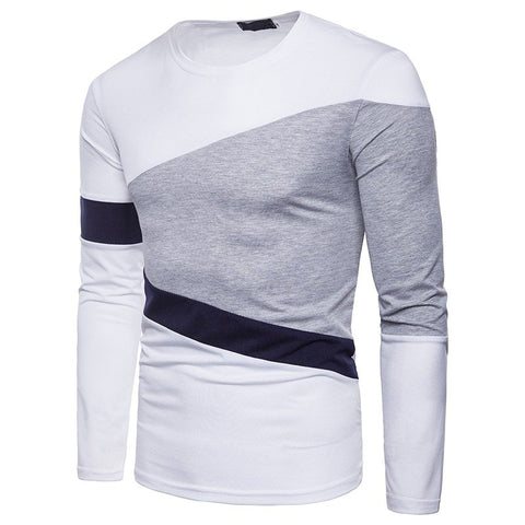 Slim Fit Long Sleeve Basic Simple Casual Patchwork Round Neck T-shirt