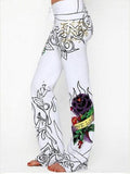 Amazing Skull Pattern Hem Wide Leg Bottom Casual Pants
